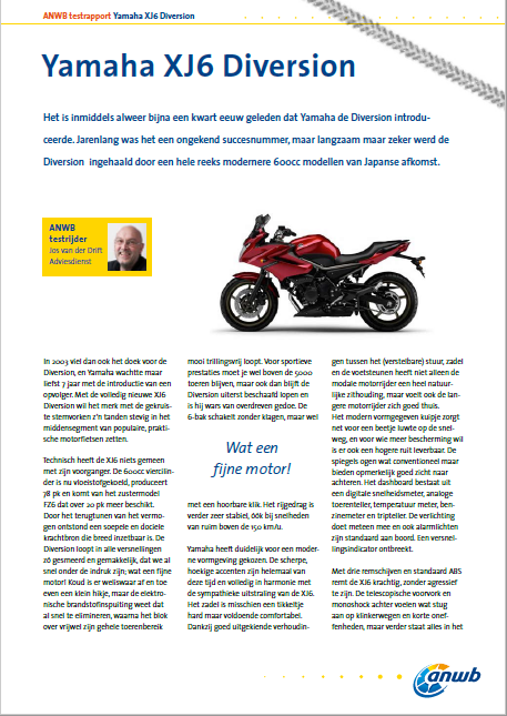 Motortest Yamaha XJ6 Diversion ANWB 2010